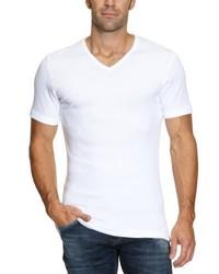 Camiseta con cuello en v blanca de Garage