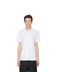 Camiseta con cuello en v blanca de Jil Sander