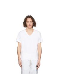 Camiseta con cuello en v blanca de Maison Margiela