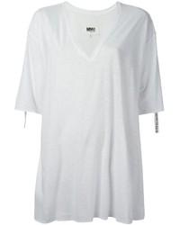 Camiseta con cuello en v blanca de MM6 MAISON MARGIELA