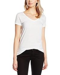 Camiseta con cuello en v blanca de Only