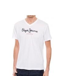 Camiseta con cuello en v blanca de Pepe Jeans