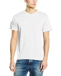 Camiseta con cuello en v blanca de Stedman Apparel