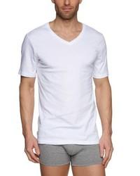 Camiseta con cuello en v blanca de Tommy Hilfiger