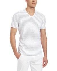 Camiseta con cuello en v de rayas horizontales blanca