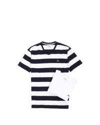 Camiseta con cuello en v de rayas horizontales en blanco y negro
