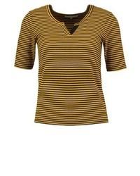 Camiseta con cuello en v de rayas horizontales mostaza de TWINTIP