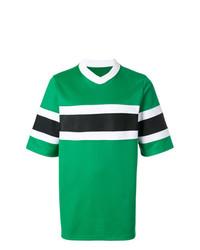 Camiseta con cuello en v de rayas horizontales verde de AMI Alexandre Mattiussi