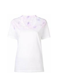 Camiseta con cuello en v efecto teñido anudado blanca de MM6 MAISON MARGIELA