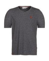 Camiseta con cuello en v en gris oscuro de Naketano