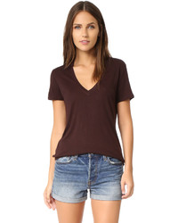 Camiseta con cuello en v en marrón oscuro de David Lerner