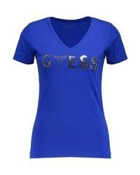 Camiseta con cuello en v estampada azul de GUESS