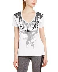 Camiseta con cuello en v estampada blanca de Zumba Fitness®