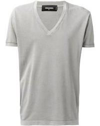 Camiseta con cuello en v gris original 384030