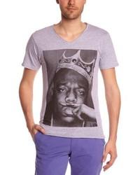 Camiseta con cuello en v gris de Eleven Paris