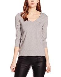 Camiseta con cuello en v gris de GANT