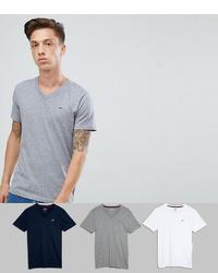 Camiseta con cuello en v gris de Hollister