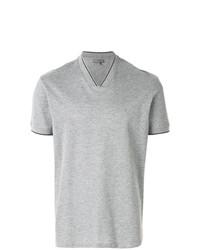 Camiseta con cuello en v gris de Lanvin