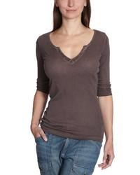 Camiseta con Cuello en V Marrón de Blaumax