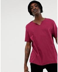 Camiseta con cuello en v morado de ASOS DESIGN