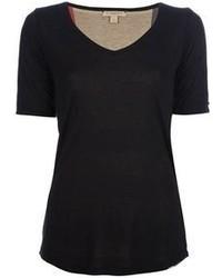 Camiseta con cuello en v negra