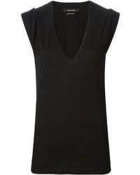 Camiseta con cuello en v negra de Isabel Marant