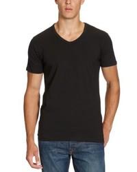 Camiseta con cuello en v negra de Jack & Jones