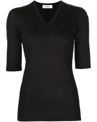 Camiseta con cuello en v negra de Jil Sander