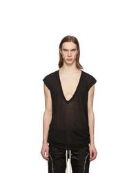 Camiseta con cuello en v negra de Rick Owens