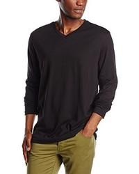 Camiseta con cuello en v negra de Signum