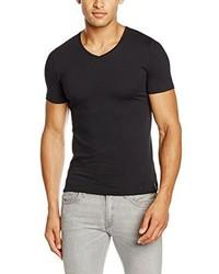 Camiseta con cuello en v negra de SPRINGFIELD