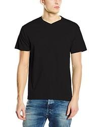 Camiseta con cuello en v negra de Stedman Apparel