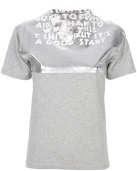 Camiseta con cuello en v plateada de MM6 MAISON MARGIELA