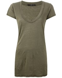 Camiseta con cuello en v verde oliva original 1307877