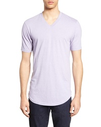 Camiseta con cuello en v violeta claro