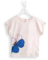 Camiseta con print de flores en beige