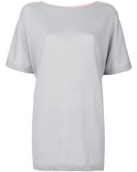 Camiseta de cuero gris de Salvatore Ferragamo