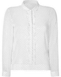 Camiseta de manga larga a lunares en blanco y negro