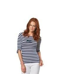 Camiseta de manga larga azul marino y blanca original 3244155