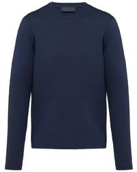 Camiseta de manga larga azul marino de Prada