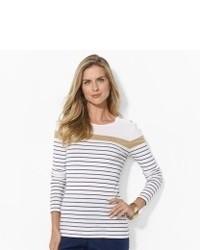 Camiseta de manga larga blanca y azul marino original 2932035