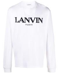 Camiseta de manga larga bordada en blanco y negro de Lanvin