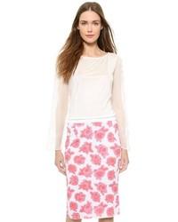 Camiseta de manga larga de encaje blanca de Nina Ricci