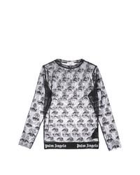 Camiseta de manga larga de malla bordada negra de Palm Angels