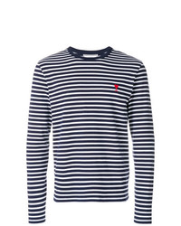Camiseta de manga larga de rayas horizontales azul marino de AMI Alexandre Mattiussi