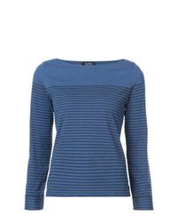 Camiseta de manga larga de rayas horizontales azul de A.P.C.