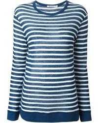 Camiseta de manga larga de rayas horizontales azul de Alexander Wang