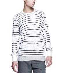 Camiseta de Manga Larga de Rayas Horizontales Blanca y Azul Marino