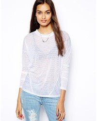 Camiseta de manga larga de rayas horizontales blanca de Glamorous