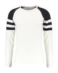 Camiseta de Manga Larga de Rayas Horizontales Blanca de ONLY & SONS
